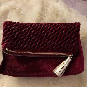 Handbags - Maroon Velvet Handbag